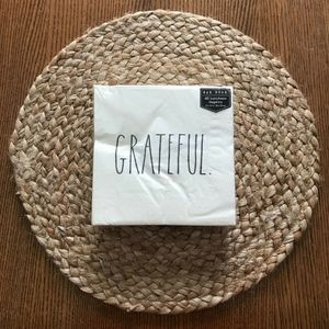 "Rae Dunn GRATEFUL Napkins Set of 40 13"" Square"